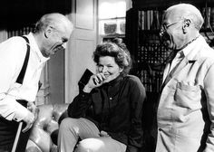 Laurence Olivier, Katharine Hepburn and director George Cukor share a laugh on the set of Love Among the Ruins. June, 1974 Tags: 1974, director, George Cukor, Katharine Hepburn, Laurence Olivier, Love Among the Ruins (TV), They All Laughed,
