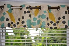 """Valance, window treatment, approximately 50"""" wide and 13"""" tall with lining and grommets, Portfolio Capparis Sunshine Fabric, ready to ship on Etsy, $65.00"""
