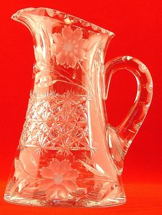 CZECH CUT GLASS COLLECTION CRYSTAL PITCHER