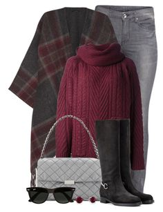 """""""Checked Cape & Cable Knit Sweater"""" by brendariley-1 ❤ liked on Polyvore featuring H&M, Theory, Marc by Marc Jacobs, STELLA McCARTNEY, Gucci, Ray-Ban, women's clothing, women's fashion, women and female"""