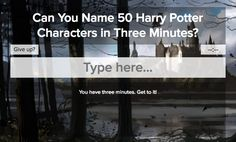 How Many Harry Potter Characters Can You Name In Three Minutes?