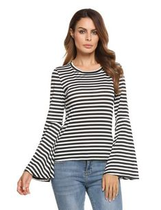 4f2d77ccf1 2017 New Long Bell Sleeve O-Neck Slim Fit Casual Tops