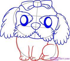 how to draw a shih tzu step 4