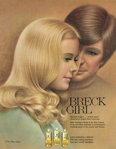 """Beautiful, illustrated 1970s magazine advertisement, Breck Gold Formula Shampoo, illustrated by legendary Breck artist Ralph William Williams, featuring Breck Girl and Model of the Year Contest winner Kathleen Loghry with unnamed young man, 1972. Interesting historical information about """"Breck Girls"""" posted at Retro-A-Ram. From Wikipedia: In 1957 Ralph William Williams succeeded Charles Gates Sheldon as the Breck artist. Unlike Sheldon, he often used professional women. Breck…"""