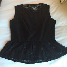 Black lace peplum top Worn once Jack Tops Tank Tops