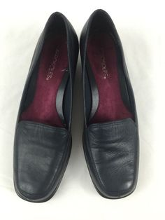 Aerosoles Shoes Final Exam Navy Blue Leather Slip On Wedge Womens Loafers 8.5 M #Aerosoles #Loafers #Moccasins
