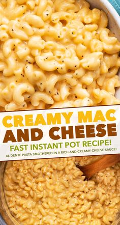 This Instant Pot Mac and Cheese is ultra creamy and rich with a velvety smooth sauce! Ready in about 20 minutes, it& perfect for a busy night and always a family favorite! Instant Pot Mac And Cheese Recipe, Best Mac N Cheese Recipe, Easy Mac And Cheese, Mac And Cheese Homemade, Instant Pot Dinner Recipes, Mac And Cheese Sauce, Recipes Dinner, Instant Pot Pressure Cooker, Pressure Cooker Recipes
