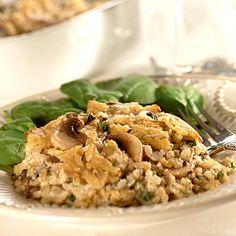 Creamy Rice & Mushroom Bake (Easy; 6 servings) #rice #mushroom