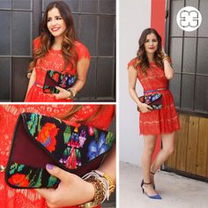 Luisa Fernanda is on fire with this red dress and matching MARIAS clutch