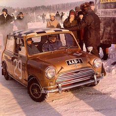 Timo Makinens 1963 1071 Cooper S , he finished on the 1963 1000 lakes in this car , was the Finnish ice track champion in 1964 / 65 / 66 in AAB 1 . Classic Mini, Classic Cars, Classic Auto, British Sports Cars, Mini One, Car Design Sketch, Mini Cooper S, Small Cars, Rally Car