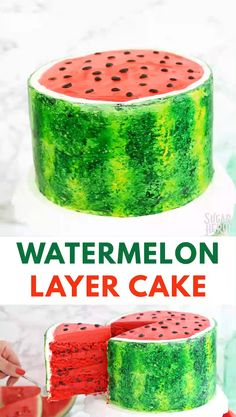 desert life This Watermelon Layer Cake is the ultimate summer cake! Layers of watermelon-flavored cake are studded with mini chocolate chips, and the outside is painted to look just like a Food Cakes, Cupcake Cakes, Candy Cakes, Mini Cakes, Beautiful Cakes, Amazing Cakes, Watermelon Birthday Parties, Summer Cakes, Cake Videos