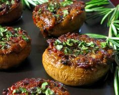 Basil, Bacon and Caramelized Onion Stuffed Mushrooms
