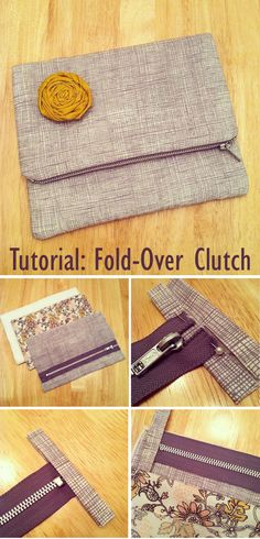 Sewing Hacks, Sewing Tutorials, Sewing Projects, Bag Patterns To Sew, Sewing Patterns, Clutch Bag Pattern, Fabric Rosette, Diy Bags Purses, Diy Tote Bag