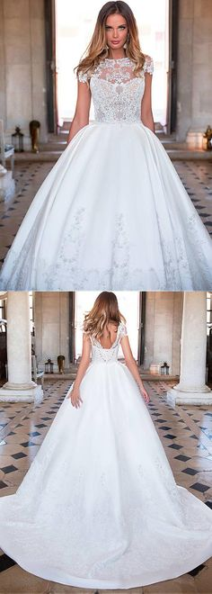 Glamorous Tulle & Satin Jewel Neckline See-through Bodice Ball Gown Wedding Dress With Lace Appliques & Beadings