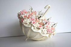 Wedding Cake Topper Handmade Clay Parasol Umbrella Cake Decor Made to Order
