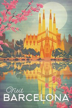 Barcelona, Spain Vintage style Travel Poster by artist Missy Ames The perfect gift for anyone who loves to travel the w. - Barcelona, Spain Vintage style Travel Poster by artist Missy Ames The perfect gift for anyone who loves to travel the world. Posters Paris, Posters Decor, Art Deco Posters, Room Posters, City Poster, Poster Art, Kunst Poster, Poster Prints, Art Print