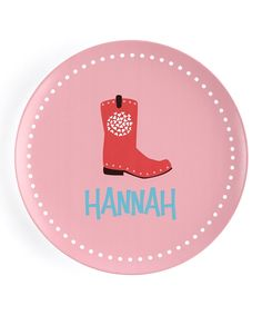 Look at this #zulilyfind! Cowgirl Boot Personalized Plate by Lima Bean Kids #zulilyfinds