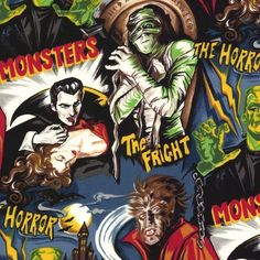 Pleasures and Pastimes Movie Monster Horror Fabric Robert Kaufman Fabric Halloween by BrooklynDollFabric on Etsy Fat Quarters, Monster Horror Movies, Hollywood Monsters, Movie Black, Halloween Fabric, What's Halloween, Movie Prints, Monster Mash, Robert Kaufman