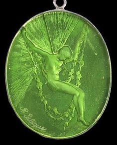 Rene LALIQUE Mirror Figurine Se Balancant: Oval pendant with mirrored backside in clear and frosted glass. This is Model No. 1641 with a mirror backing and typical mirror mount. (hva)