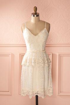 Bianelle Douceur - Cream embroidered mesh ruffled dress