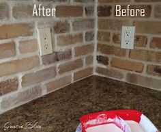 DIY Whitewashed Brick Backsplash | Bless'er House