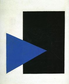 Suprematism with Blue Triangle and Black Square. 1915. Oil on canvas. 66.5 x 57 cm. Stedelijk Museum, Amsterdam, Netherlands Artist: Malevich