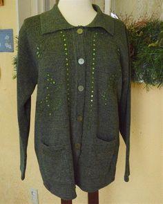 TC Fashion Embellished Floral Sweater Coat L Classic Fun Cute Party Wear w/Jeans #TCFashion #Cardigan