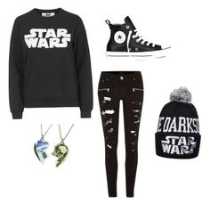 """""""#star wars fan"""" by mingbruh ❤ liked on Polyvore featuring Tee and Cake, River Island, Converse and R2"""