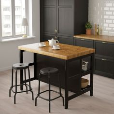 VADHOLMA kitchen island with frame – black, oak – IKEA Germany – diy kitchen ideas Classic Kitchen, Minimal Kitchen, Küchen Design, Design Ideas, Design Inspiration, Cabinet Inspiration, Cabinet Ideas, Design Concepts, Kitchen Organization