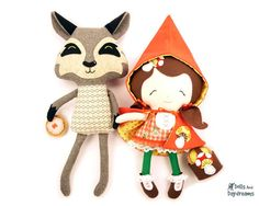 Adorable Little Red Ridinghood and wolf sewing patterns from Dolls and Daydreams http://dollsanddaydreams.com/
