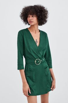 Image 2 of FAUX SUEDE JUMPSUIT from Zara Zara Outfit, Wrap Dress, Shirt Dress, Casual, Shirts, Outfits, Dresses, Fall 2018, Silhouettes