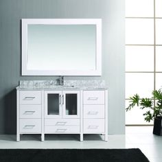 Stanton Solid Wood Single Sink Bathroom Vanity Set with Carrara White Marble Top - Overstock™ Shopping - Great Deals on Design Element Bathroom Vanities Vanity Set With Mirror, Single Sink Bathroom Vanity, White Mirror, Vanity Sink, Single Vanities, Condo Bathroom, Bathroom Marble, Bathroom Vanities, Master Bathroom