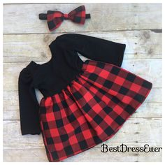 9a3d1fb8ab64 Items similar to Toddler Girls Christmas dress - Babys Buffalo plaid - toddler  buffalo plaid -baby girls first birthday outfit - knit on Etsy