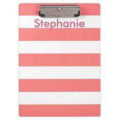 Coral Stripe Clipboard