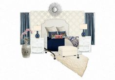 Blue and white bedroom I am working on  for my room : )