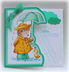 "Uses Penny Black's ""Sunshine in the Rain"" with ""Get Well Soon"". Stickles were added to the water and raindrops."