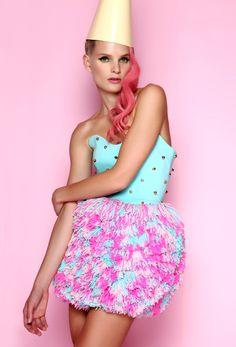 Studded pom pom dress ANA LJUBINKOVIC / fw 2012/13 collection #ana_ljubinkovic #pompom #mint #studs #pinkhair #circus #kitsch