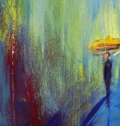 RAIN Painting Abstract Colorful Contemporary Art by AbbieBlackwell, $110.00