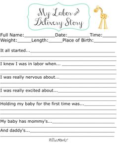 Labor and Delivery Free Printable  AllThatSrocks.com The 4th print in her printable Baby Book Series and they are so simple and cute. Gender neutral!