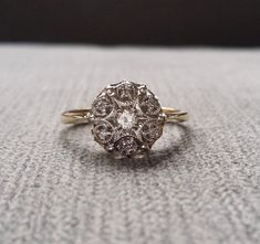 Two Toned Diamond Antique Engagement Ring Vintage by PenelliBelle