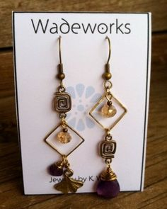Asymmetrical Boho Earrings Amethyst and Ginko by Wadeworks on Etsy, $22.00