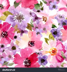 stock-vector-seamless-wallpaper-with-summer-flowers-watercolor-painting-261637715.jpg 1,500×1,600 pixels