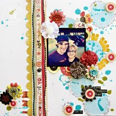 Fun layout created by Leslie Ashe. The blue circles are made using a homemade stencil.