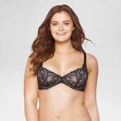 Paramour Women's Lou Lou Lace Unlined Bra - Black