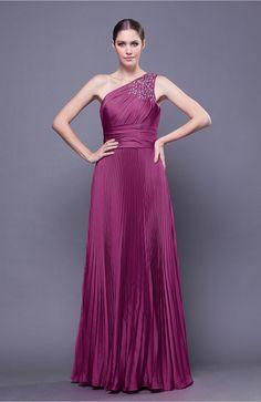 a353195a06c Festival Fuchsia Prom Dress - Modest Asymmetric Neckline Sleeveless Chiffon-Satin  Floor Length Sequins