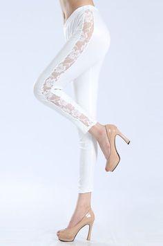 Legging Pants Wet Look White