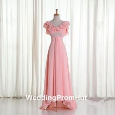 US6 pink Beaded bridesmaid dress, Floor Length A-line Bridesmaid Chiffon Dress, empire waist Bridesmaid Dress/ Long Evening Dresses Prom Gown