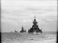 Battleships HMS Duke of York and HMS Nelson leading battlecruiser HMS Renown and carrier HMS Formidable whilst covering the invasion of North Africa - Operation Torch, November 1942.