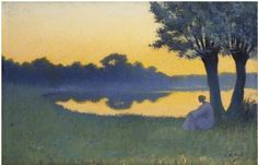Au coucher du soleil, 1894, Alphonse Osbert. French (1857 - 1939) - Oil on Canvas -