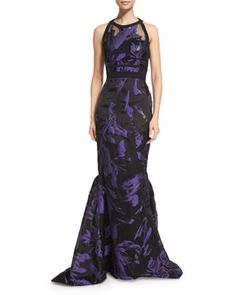 Halter-Neck+Two-Tone+Organza+Gown,+Violet/Black+by+J.+Mendel+at+Neiman+Marcus.